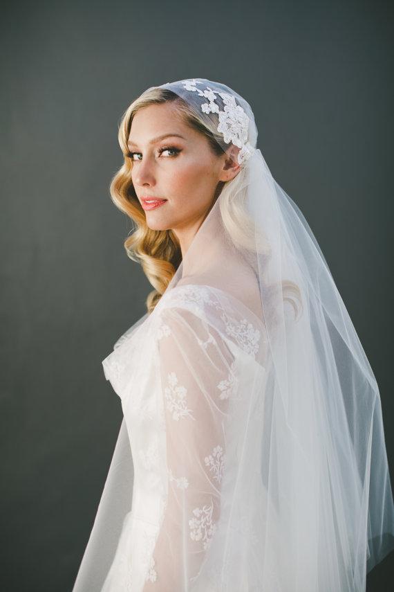 Lace Cap Veil Wedding Veil Juliet Cap Veil Lace Bridal