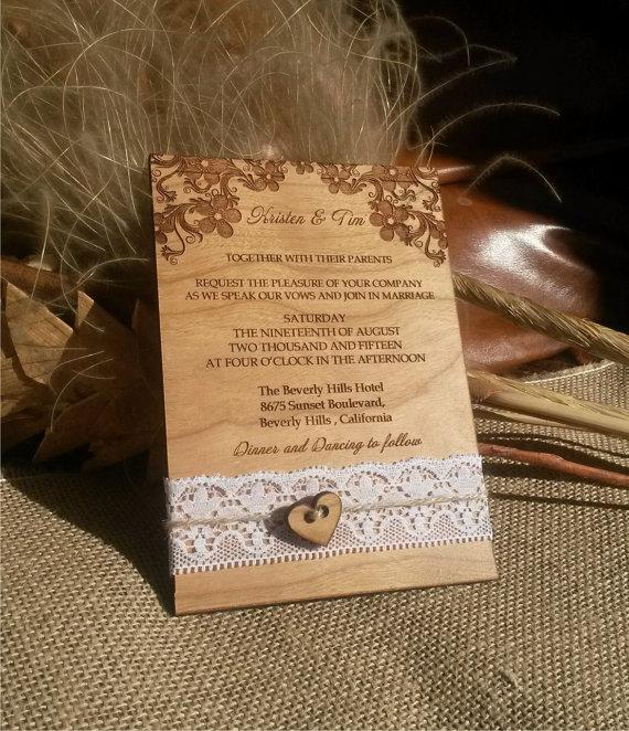 Engraved Personalized Wood Wedding Invitations Laser Cut