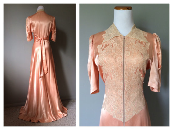 Vintage 1930s 1940s Antique Lace And Satin Dress Gown