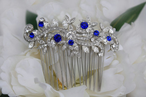 sapphire blue swarovski crystal bridal hair comb royal blue rhinestone silver hair comb blue wedding hair comb bridal hair accessories blue