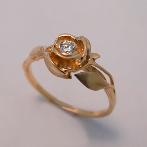 Rose Engagement Ring No3 14K Rose Gold And Diamond