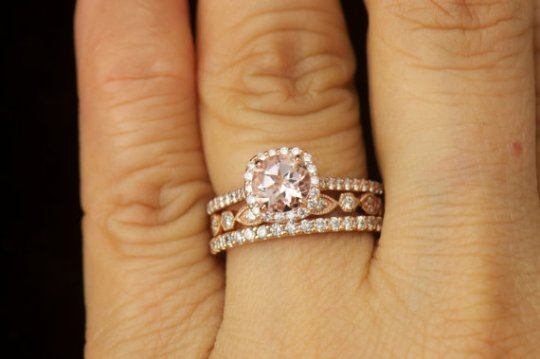 Matching Ring Set   Kylie B  Morganite And Diamond Halo Engagement     Matching Ring Set   Kylie B  Morganite and Diamond Halo Engagement Ring    Natalie  Petite Addison Diamond Wedding Band