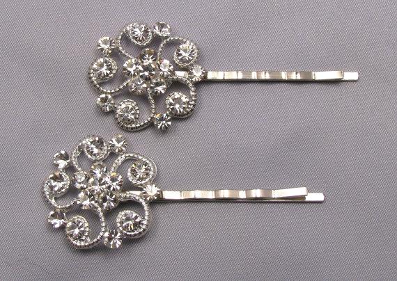 rhinestone bobby pins crystal hair pins decorative jeweled wedding bridal hair clip silver vintage style hair accessories bridesmaids