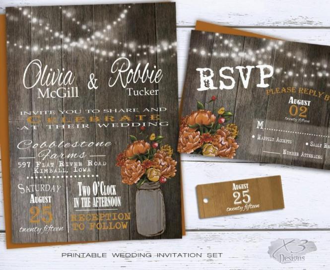 Printable Fall Wedding Invitations – Diy Fall Wedding Invitations