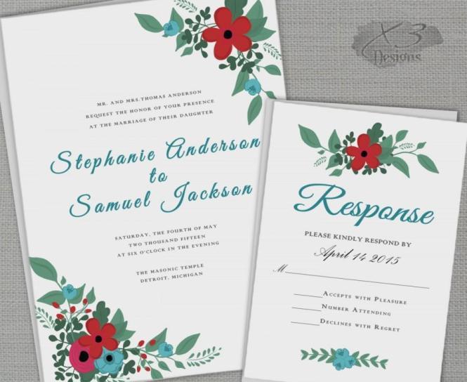 Fl Barn Wedding Invitation Set Printable Rustic