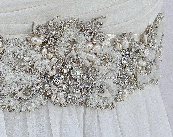 Beaded Bridal Sash-Wedding Sash In Ivory With Crystals