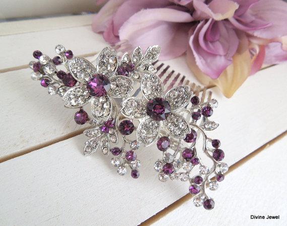bridal purple swarovski crystal wedding comb wedding hair accessories vintage style purple leaf rhinestone bridal hair comb purple rachel