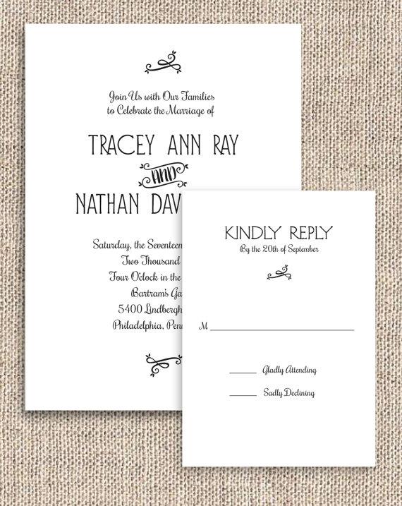 Printable Rustic Chic Invitation And Rsvp Set Digital