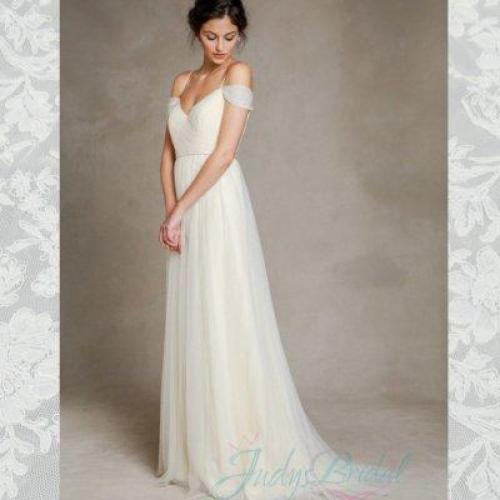 Soft Light Flowy Tulle Off Shoulder Wedding Dress #2322248   Weddbook