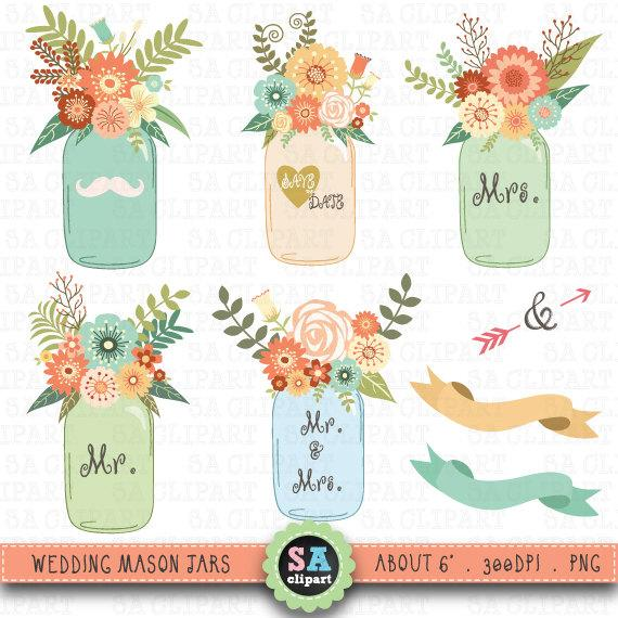 Mason Jar Clipart WEDDING MASON JARclip Art Pack