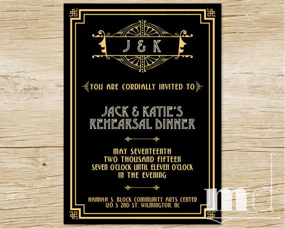 Great Gatsby Rehearsal Dinner Invitation Wedding