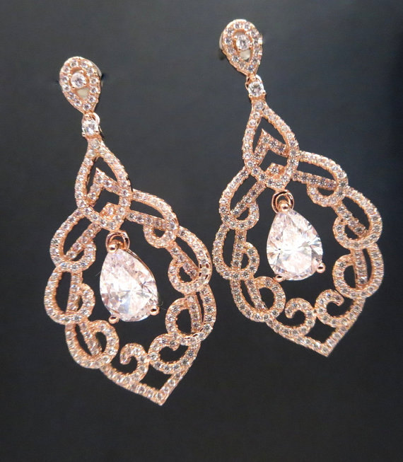 Crystal Bridal Earrings Rose Gold Wedding Chandelier Jewelry Rhinestone Teardrop