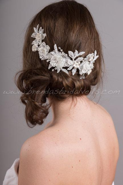 wedding lace headpiece lace hair vine bridal hair accessory white or ivory courtney