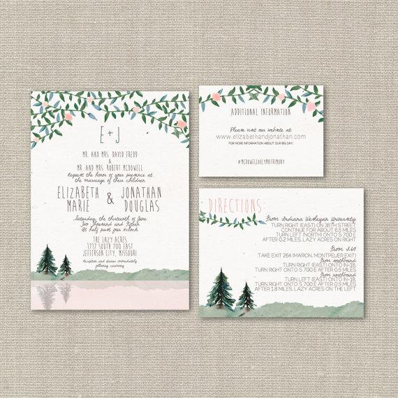 Wedding Invitation Suite DEPOSIT DIY Rustic Woodland