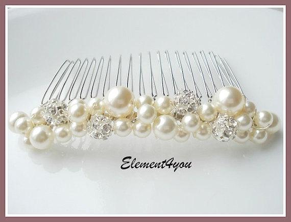 bridal hair comb wedding hair accessories bridal headpieces rhinestone hair comb bridal wedding hair comb bridal pearl white ivory