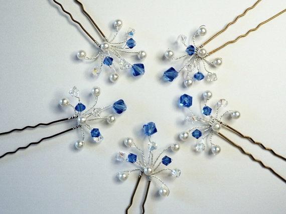 sapphire crystal hair pins swarovski crystal hair pins blue bridesmaid hair accessories sapphire hair accessories graduation hair pins