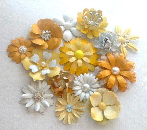 White And Yellow Enamel Flower Brooch Lot 14 Handmade