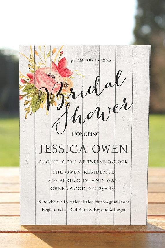 Fall Bridal Shower Invitation Wood