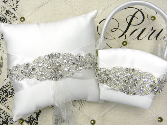 wedding white or ivory ring bearer pillow and flower girl basket handmade products decorations