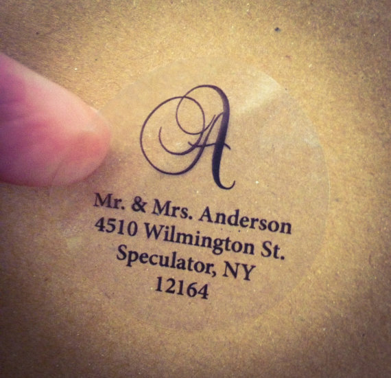 Clear Script Monogram Address Labels For Wedding Invitation