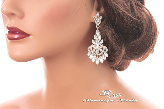 Rose Gold Crystal Earrings Bridal Art Deco Wedding Marquise Stone Chandelier Vintage Style 1261rc