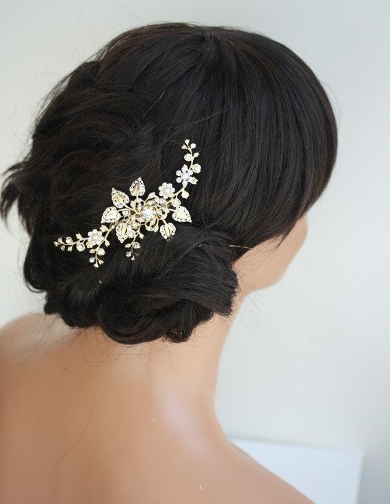 gold bridal hair comb wedding hair accessories flowers and leaves gold hair vine gold hair comb wedding hair piece harlow vine