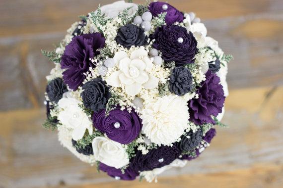 Wedding - Bridal Bouquet,Sola Flower Bridal Bouquet,Pantone,Egg Plant, Dark Purple, Purple Gray Bridal Bouquet,Handmade Bridal Bouquet, Rustic Bouquet
