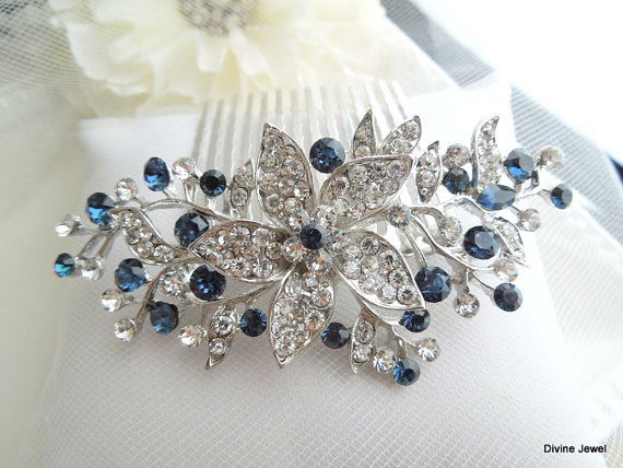 bridal blue swarovski crystal wedding comb wedding hair accessories vintage style blue leaf rhinestone bridal hair comb blue clip bride katy