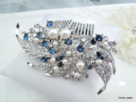 blue swarovski crystal and pearl wedding comb wedding hair accessories vintage style blue wedding hair comb bridal hair comb pearl hair etta