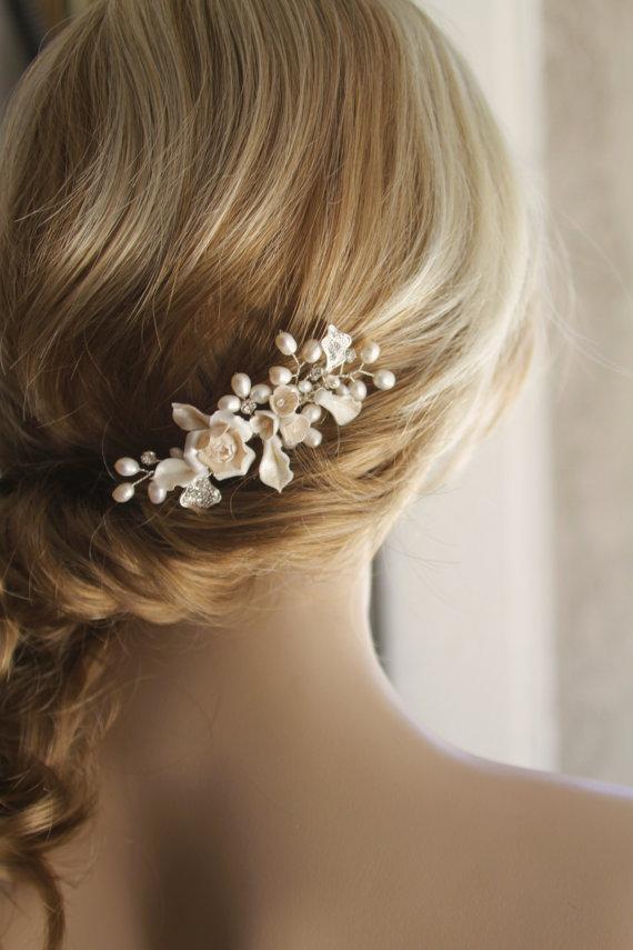 bridal hair comb wedding hair comb bridal hair accessories ivory color bridal comb bridal hair piece