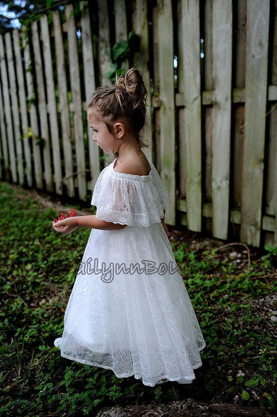 Vintage Victorian Boho Lace Off The Shoulders Flower Girl