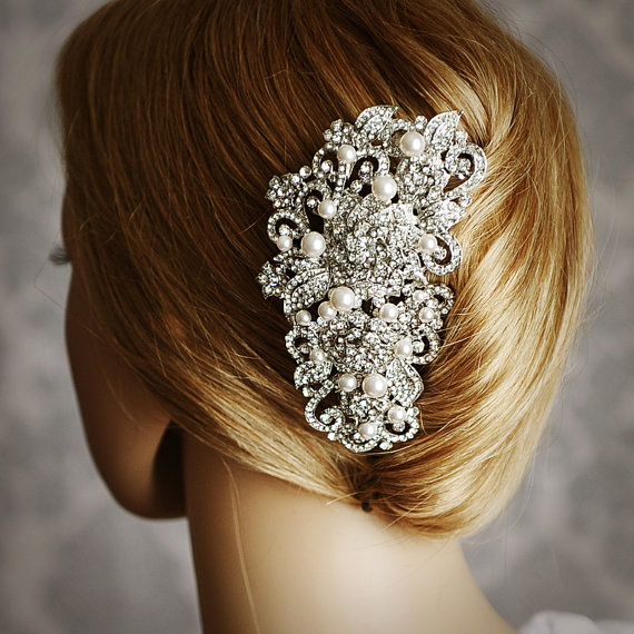 angelique victorian pearl and rhinestone bridal hair comb vintage style wedding hair accessories crystal flower wedding bridal hair comb