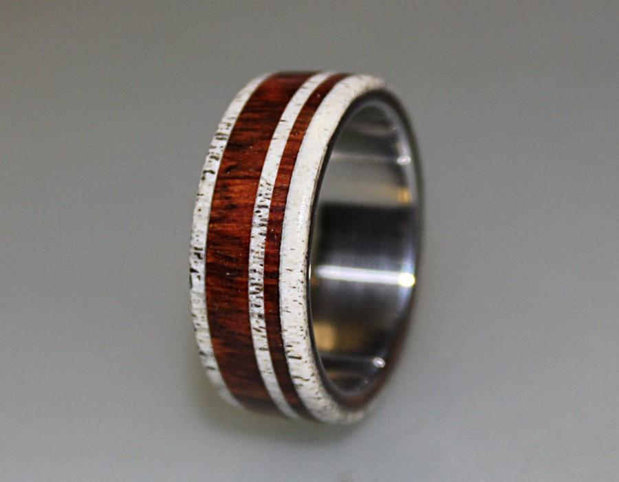 Titanium Ring With Cocobolo Wood And Deer Antler Inlay