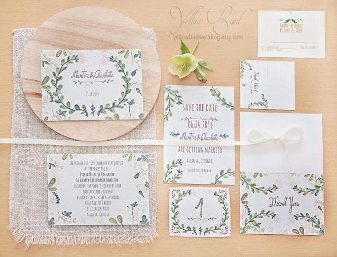 Fl Wedding Invitation Set Hand