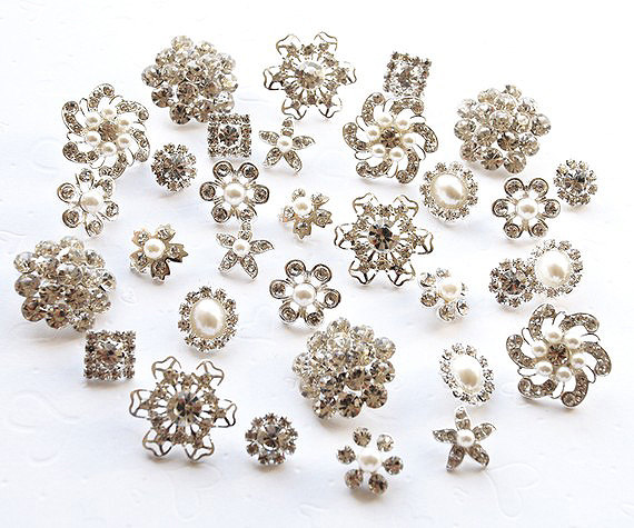 20 Rhinestone Buttons Assorted Starfish Round Circle Oval