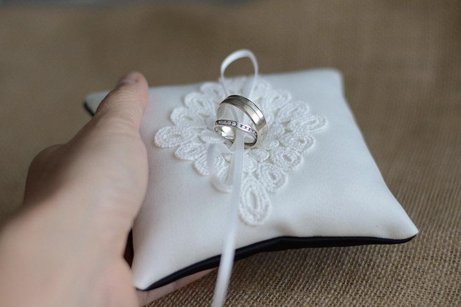 wedding ring pillow ring bearer pillow black and white ring cushion made from heavy matte satin with cotton lace patch 2402715 weddbook