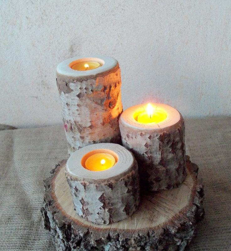 3 wood candle holders table centerpiece wood log holders white tree candle holders wedding decoration home decoration 2403787 weddbook