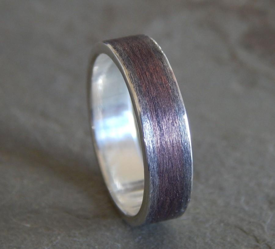 RUSTIC TEXTURED Silver Amp Copper Wedding Band Mens Or