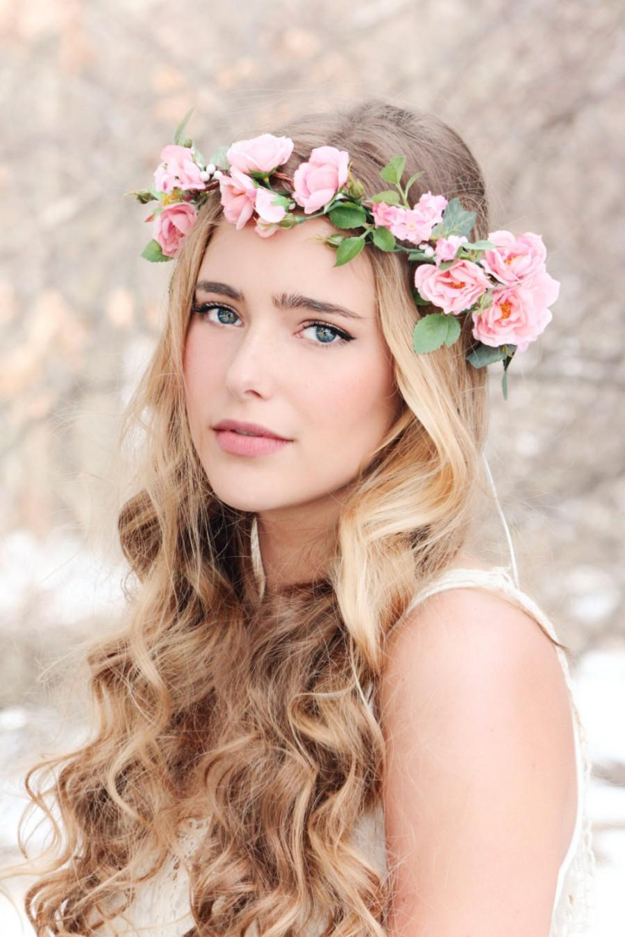 flower crown pink rose wreath bridal hair woodland wedding rustic headpiece