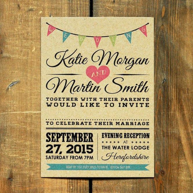 Vintage Bunting Wedding Invitation Set Save The Date