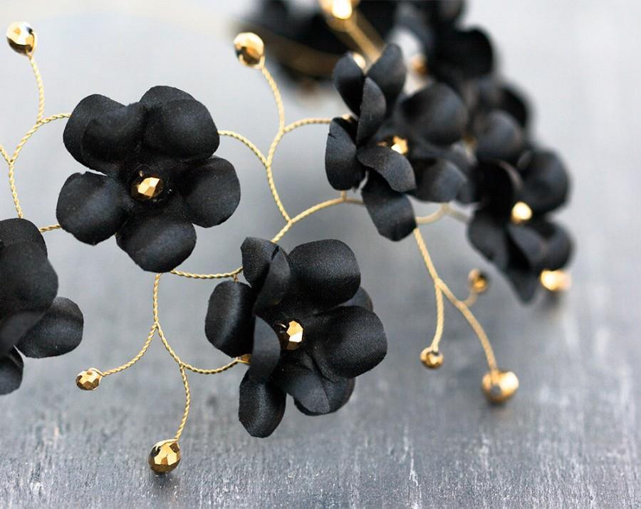 black flower crown gold hair accessories circelt of flowers headband flowers floral hair accessories wedding hair pieces wedding halo