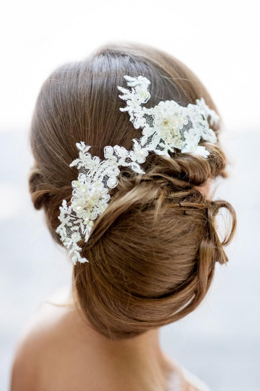 bridal lace hair accessory handmade bridal lace hair piece flower crown bridal fascinator wedding hair crown wedding lace hair vine