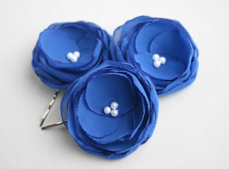 Blue Flower Hair Accessories Royal Blue Flower Hair