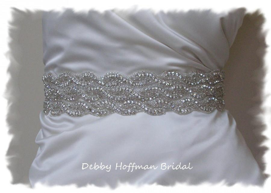 Bridal Sash, 19 Inch Beaded Wedding Dress Belt, Rhinestone