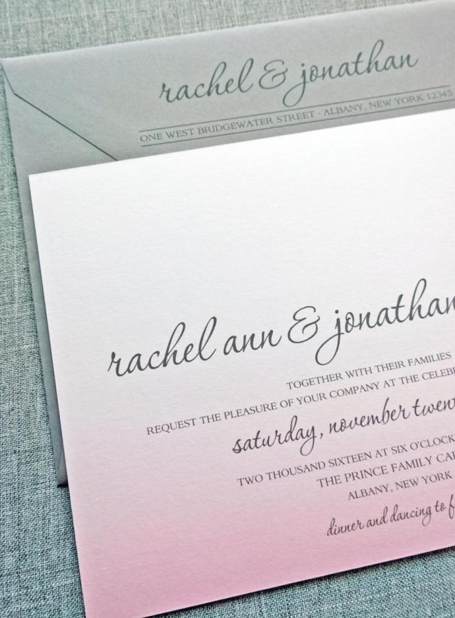 Rachel Pink Ombre Wedding Invitation Sample 2424203 Weddbook