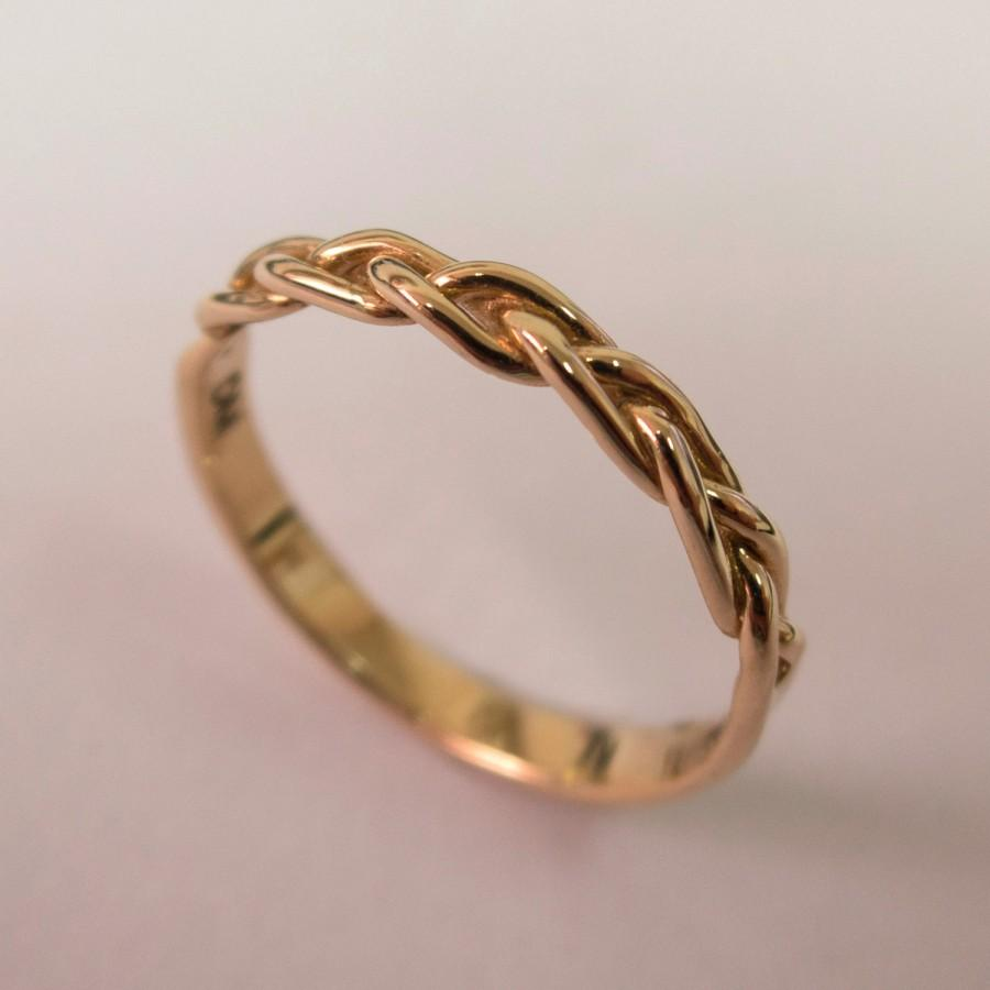 Braided Ring No4 14K Rose Gold Stackable Ring Wedding