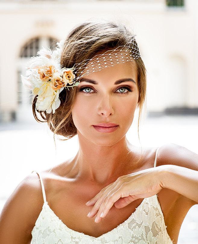 bandeau style birdcage veil 2016 bride hair jewelry collection vintage style bridal veil pink ivory flower veil royal wedding