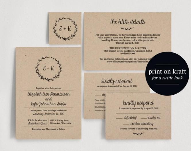 Wedding Invitation Printable Rustic