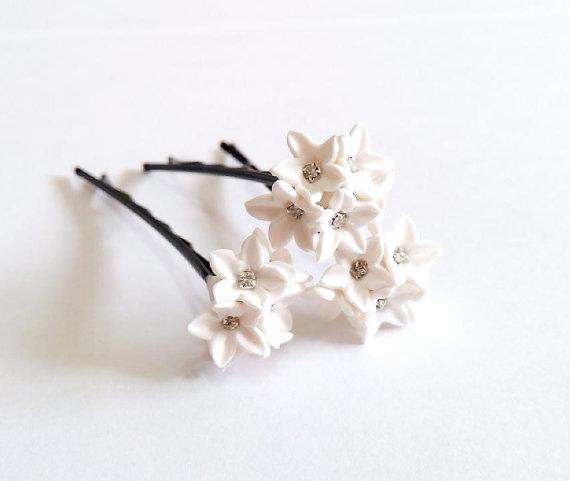 small white flower hair clips white wedding flower hair accessory wedding hair pins bridal set