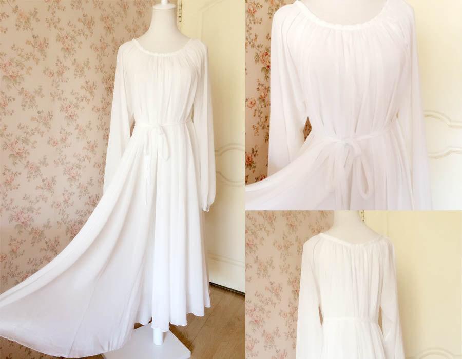 Muse White Dress. Long Sleeve Maxi Dress, Plus Size Dress